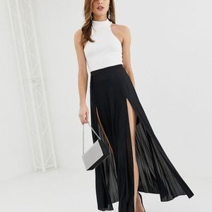 ASOS DESIGN pleated maxi skirt with double split